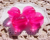 HOT Pink Fluted Melons Vintage Lucite Beads
