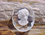 Frosted Intaglio Lovely Girl Vintage Czech Glass Pendant