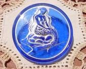 Translucent Cobalt Blue Silver Mermaid Czech Glass Button