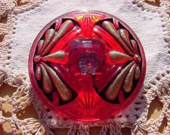Cabernet Art Deco Golden Dragonflies Czech Glass Button