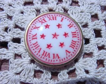 Alabaster Crimson Nautical Clock Vintage Czech Glass Button
