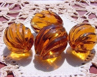 Sparkling Rootbeer Twists Vintage Lucite Beads