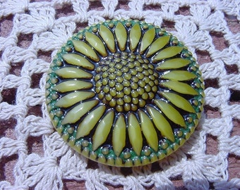 Sunny Custard Glass Sunflower Czech Glass Button