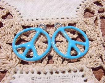 Turquoise Blue Peace Signs Vintage Style Enamel Charms