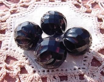 Jet Black Faceted Fluted Vintage Lucite Beads