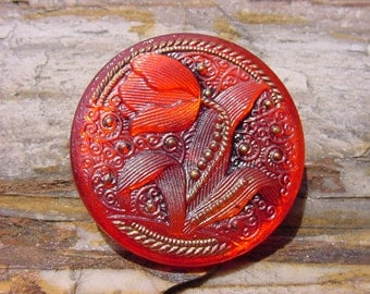 Watermelon Red Lace Tulip Czech Glass Button