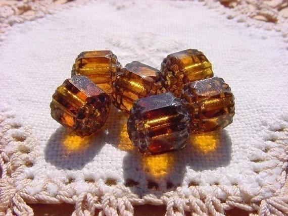 Rootbeer Glow Topaz Cathedral Vintage Glass Beads DESTASH