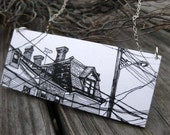 Walking in Bloomfield, 1.5x3.5 Paper and Wood Necklace