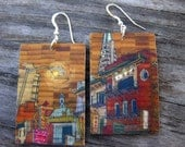 Pearl City 1.25x2, Paper and Wood Earrings