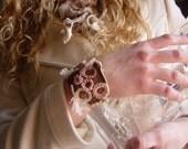 Crocheted Bracelet, Brown and Pink, Freeform, Handmade