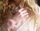 Crocheted Bracelet, Forever Bloom, Flower, Pink, Ivory, Handmade