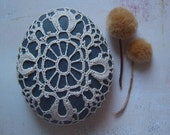 RESERVED Crocheted Lace Beach Stone, with Tiny Stitches, Beige, Gray, Large, Handmade