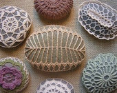 RESERVED Crocheted Lace Stone, Golden Beige, Fern Pattern, Green Speckled Stone