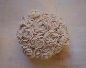 Crocheted Lace Stone, 3D Flower Garden, Smooth, Flat, Handmade