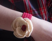 Crocheted Bracelet, Blooming Poppy, Ivory with Red Beaded Center and Red Band, Handmade
