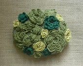 Folk Art, Art Object, Crochet Lace Stone, Original, Handmade, Moss, Home Decor, Collectible, Nature, Woodland, Green, Gray