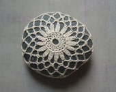 Crocheted Lace Stone, Floral Motif, Beige, Handmade