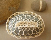 RESERVED  Crocheted Lace Stone, Beige, Gray Stone, Handmade 3D Design