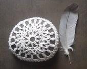 Crocheted Lace Stone, Collectible, Handmade, Art, Home Decor, Original, White Thread, Brown Stone