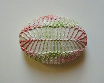 Fern Stone, Crochet Lace Stone, As seen in Interweave Crochet, Handmade, Home Decor, Wedding, Serpentine Stone, Green and Pink Thread