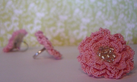 Spring Blossom Crocheted Adjustable Ring in Pink