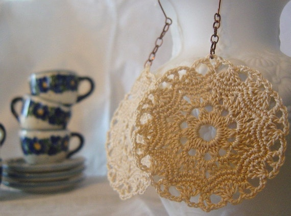 Crocheted Earrings, Lace, Handmade, Beige