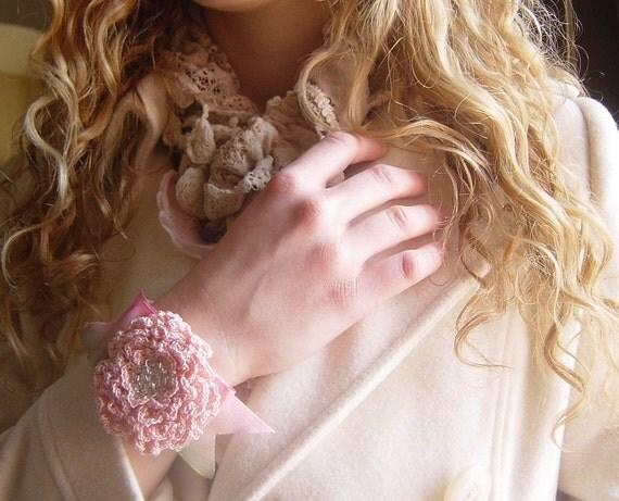 Crocheted Bracelet, Forever Bloom, Flower, Pink, Ivory, Handmade