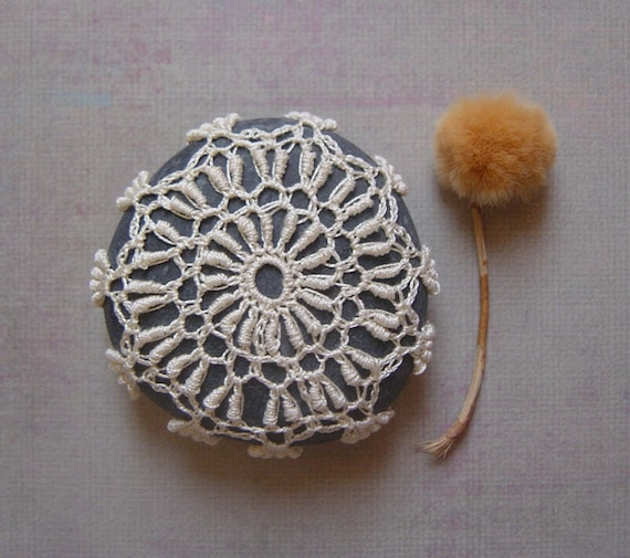 RESERVED  Crocheted Lace Stone, with Tiny Stitches, Beige, Gray, Handmade