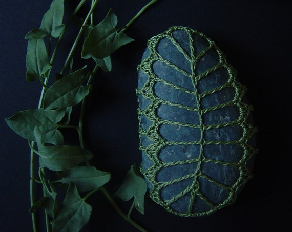 Crocheted Lace Stone, Fern Pattern, in Green with Gray Oblong Stone, Handmade