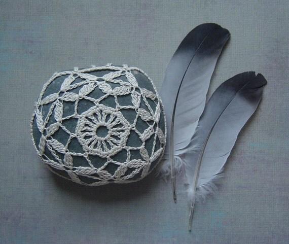 Crocheted Lace Beach Stone, Beige, Gray Stone, Handmade