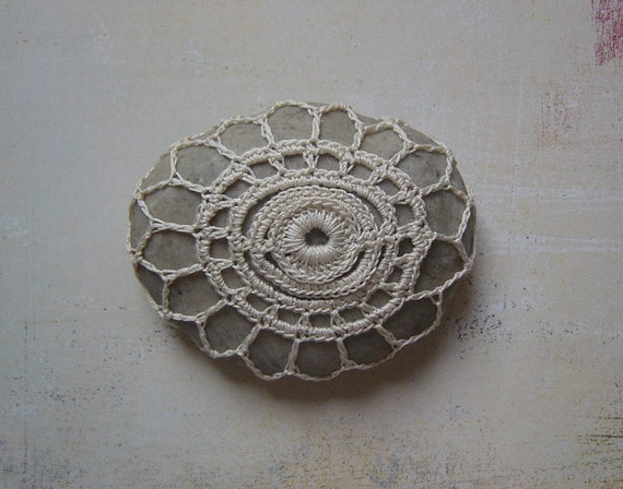 RESERVED Crocheted Lace Stone, Beige with Light Gray Stone, Irish Lace Inspired, Handmade