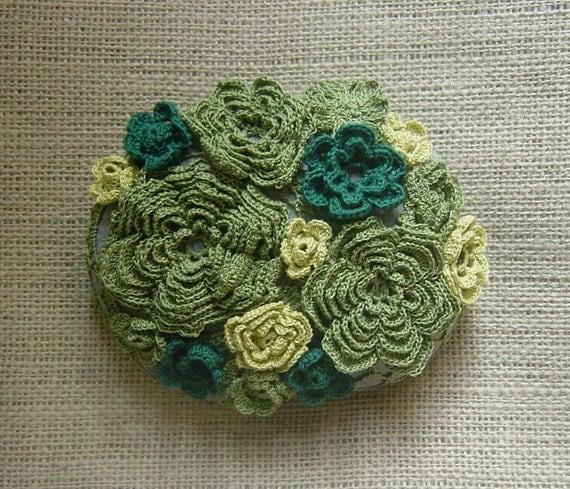 Folk Art, Art Object, Crochet Lace Stone, Original, Handmade, Moss, Home Decor, Collectible, Nature, Woodland, Green, Gray