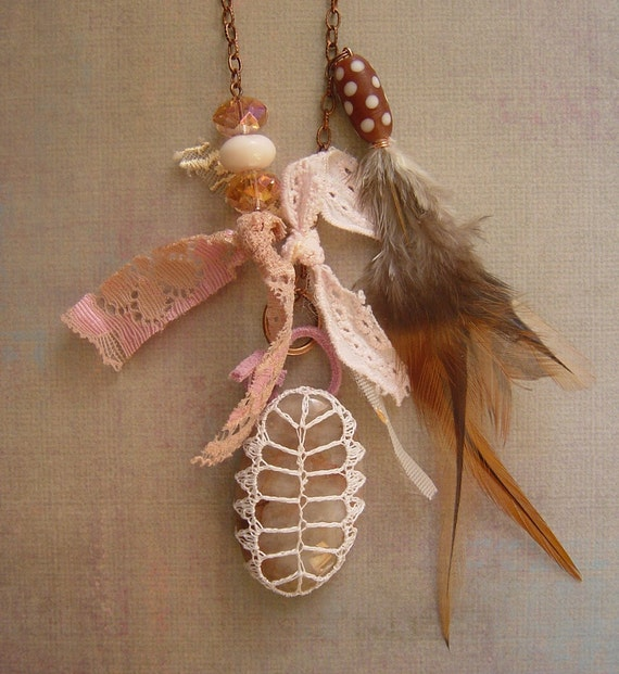 Women, Necklace, Pendant, Crochet Lace Stone, Tribal, Original, Statement, Handmade, Antique Copper, Feathers, Beads, Lace and Leather