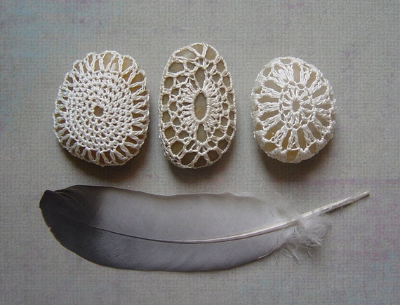 Crocheted Lace Pebbles, Collection of 3, Beige