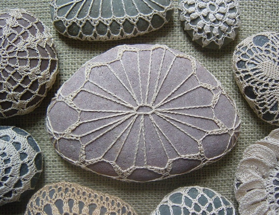 Crocheted Lace Stone, with Tiny Stitches, Beige, with Pinkish Gray Stone, Handmade