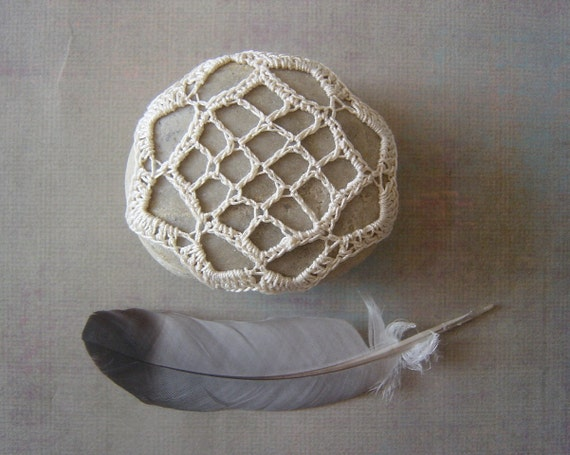 Crocheted Lace Stone, Beige with Light Gray Stone, Handmade, Irish Lace Inspired, On Sale