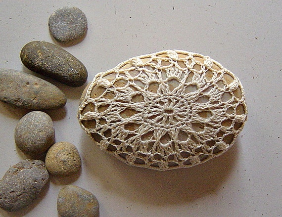 Crocheted Lace Stone, with Tiny Stitches, Beige Thread on Beige Stone, Handmade by Monicaj