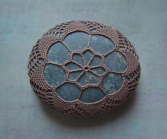 RESERVED Crocheted Lace Stone, Soft Brown Thread, Gray Stone, Handmade by Monicaj