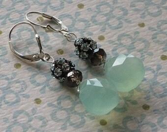 Gigi Earrings -- green chalcedony, smoky quartz, blue crystals