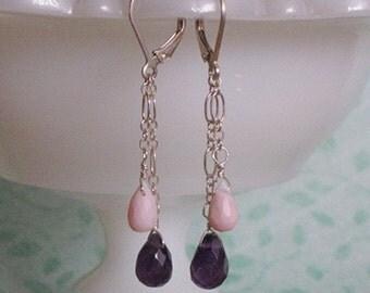 Abby Earrings - amethyst, pink opal, sterling silver
