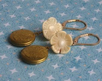 Gemma Earrings - white coral flowers, vintage lockets