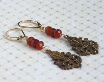 Genevieve Earrings -- hessonite garnet, vintage brass