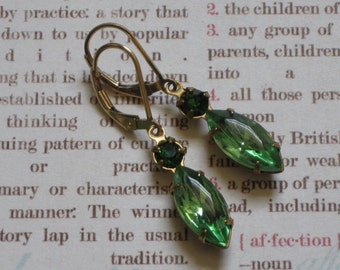 Lourdes Earrings - green vintage glass, gold filled