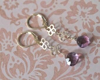 Laura Earrings - amethyst, sterling silver flower links