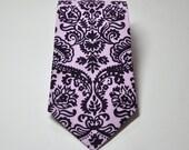 Men's Tie Purple Damask Necktie