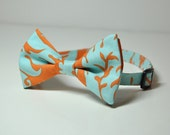 Orange and Blue Damask Bowtie for Little Boys