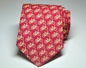 Men's Tie Red Bikes Boy's Tie or Men's Necktie in Red Bicycles