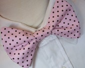 Bow Tie For Little Boys Pink and Chocolate Dots