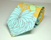 Mustard Necktie - Mens Tie or Boys Necktie in Yellow and Blue Chrysanthemum