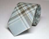 Blue and Brown Plaid Men's Necktie